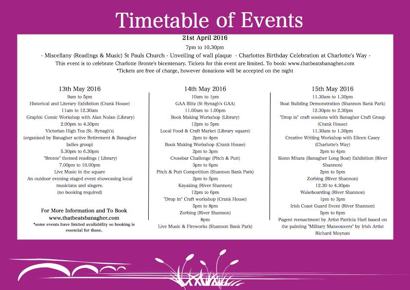Banagher Festival Timetable