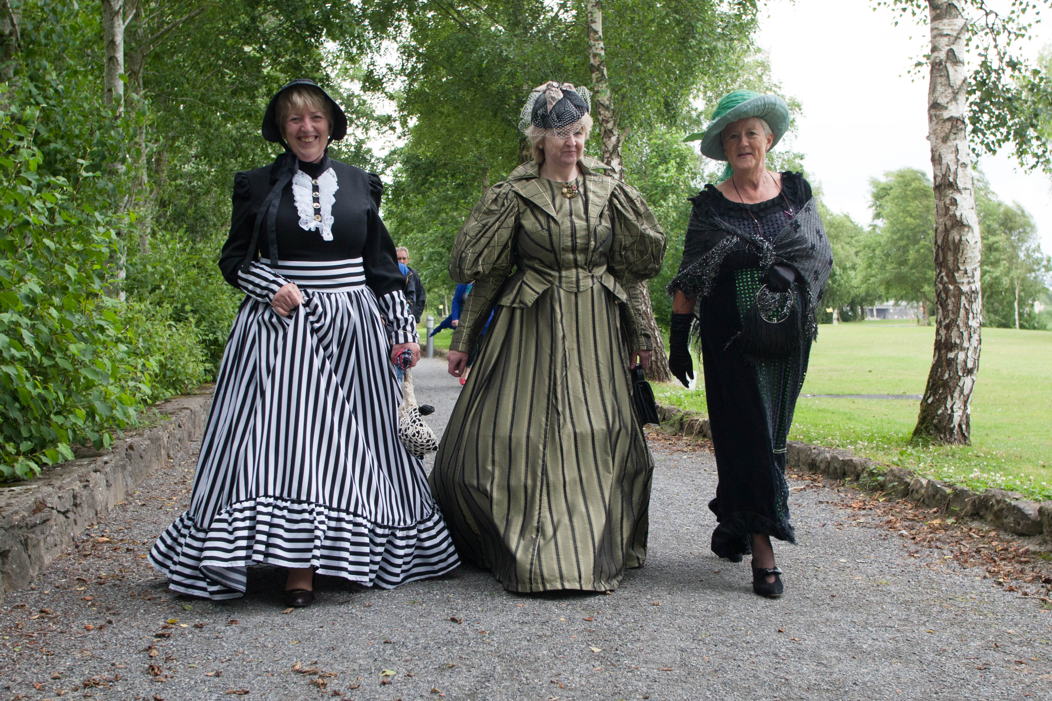 Carmel Rourke, Josephine Devery and Cora Stronge Smith strolling along to the Official opening of the Trollope Bridge at Banagher Pitch and Putt Club during the That Beats Banagher Festival. Picture: Ger Rogers/HR Photo.