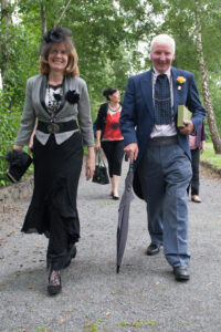 Monica Kelly and James Scully on their way to the Official opening of the Trollope Bridge at Banagher Pitch and Putt Club during the That Beats Banagher Festival. Picture: Ger Rogers/HR Photo.